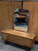 YOUNGER MID-CENTURY BEDROOM SUITE to include lady's and gent's fitted wardrobe, 178cms H, 128cms