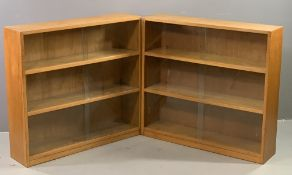 BOOKCASES - pair of light wood having three shelves and sliding glass doors, 85cms H, 92cms W, 22cms