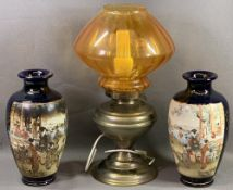 SATSUMA VASES, a pair, 31cms H and a brass based oil lamp with good amber glass shade