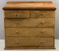 ANTIQUE PINE CHEST of two over three drawers, with turned knobs, 100cms H, 102cms W, 52cms D