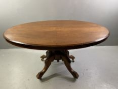OVAL DINING TABLE - Edwardian mahogany with line and diamond multi-wood inlay band, on four turned