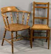 SMOKER'S BOW TYPE VINTAGE ELBOW CHAIR, 80cms H, 58cms W, 42cms D and a cane seated bedroom chair