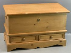 PINE BLANKET BOX with two base drawers, 57cms H, 92cms W, 47cms D