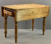 FARMHOUSE PINE DROP LEAF TABLE with end drawer, 77cms H, 101cms W, 106cms D (open)