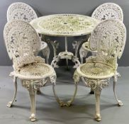RETICULATED WHITE METAL GARDEN FURNITURE comprising circular table, 69cms H, 80cms diameter and four