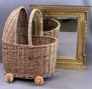 ORNATE GILT FRAMED BEVELLED GLASS WALL MIRROR, 61cms H, 53cms W and a wicker basket doll's pram