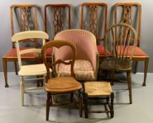 ANTIQUE MAHOGANY DINING CHAIRS - set of four with fretwork backs and red upholstered pad seats, also