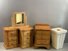 PINE BEDROOM FURNITURE - a pair of narrow chests of three drawers, 57cms H, 39cms W, 30cms D,