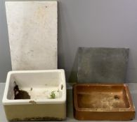 BELFAST SINK, 34cms H, 81cms W, 47cms D and another similar sized salt glazed sink, a washstand's or