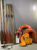 BOATING INTEREST - a quantity of oars (two pairs and two others), 'Perry Buoy' lifebuoy and