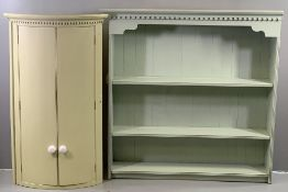 VINTAGE PAINTED PINE FURNITURE - dresser top/three shelf wall rack, 129cms H, 127cms W, 30cms D