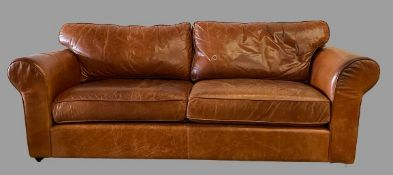 VINTAGE TYPE SOFA in tan leather/leather effect, 88cms H, 238cms W, 98cms D, labelled as 'Buffalo