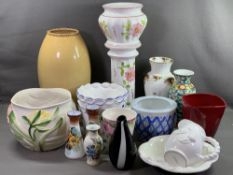 ROYAL ALBERT 'OLD COUNTRY ROSES' VASE, 31.5cms H, pair of milk glass vases and a large quantity of