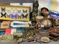 BRASSWARE, TREEN & COLLECTABLES including butterflies and an assortment of mixed items
