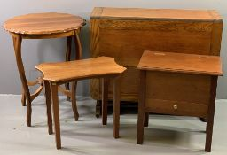 FURNITURE ASSORTMENT - polished drop leaf table, 77cms H, 153cms W, 92cms D (open), a shaped