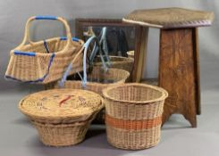 TREEN & WICKER - an assortment of vintage baskets, occasional table and mirror
