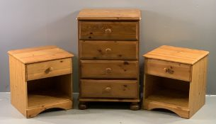 MODERN PINE BEDROOM FURNITURE - narrow chest of four drawers, 86cms H, 58cms W, 45cms D and a pair