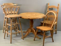 PINE FURNITURE ASSORTMENT - circular breakfast table on pedestal support, 73 x 90cms, two bar type