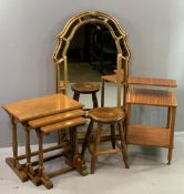 FURNITURE ASSORTMENT to include rustic nest of three coffee tables, milking type stool, mid-