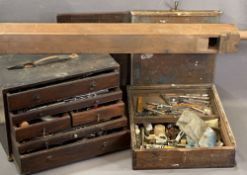 ENGINEER'S VINTAGE TOOLBOX with multiple drawers and tool contents, 17.5cms H, 40cms W, 22cms D
