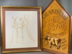 VINTAGE STYLE RETAIL SIGN for Grantham Dairy Farm, 93cms H, 65cms W and a limited edition print