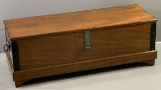 POLISHED BLANKET BOX with black japanned edging and handles, on bracket supports, 40cms H, 115cms W,