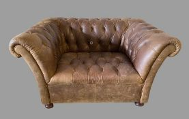 CHESTERFIELD TYPE CHAIR in brown leather with button back and seat, 68cms H, 134cms W, 92cms D