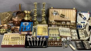 EPNS CASED CUTLERY SETS - a good assortment plus two pairs of brass candlesticks, other brass and
