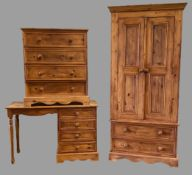 PINE BEDROOM FURNITURE - modern Eastern style to include two door/two drawer wardrobe, 199cms H,