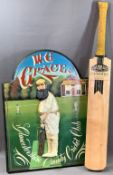 CRICKET INTEREST - W G Grace plaque for Gloucester County Cricket Club and a Newbery handmade