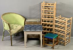 FURNITURE ASSORTMENT - loom type chair and basket, small modern shelf racks, string topped stool and