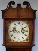 OAK LONGCASE CLOCK - John Jones, Caernarfon, eight day movement, painted dial with Roman numerals,