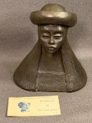 EZZELINA JONES (South Wales Sculptor) - composition copy of the head and shoulders of a lady wearing