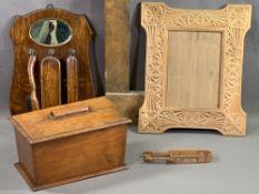 TREEN - antique Welsh love spoon sugar tongs, clothes brush set, mahogany sarcophagus shaped