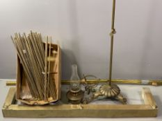 BRASS STAIR RODS, other brass fittings, fender and a decorative rise and fall oil lamp