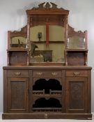 EDWARDIAN MIRROR BACKED SIDEBOARD with carved detail throughout, 207cms H, 151cms W, 44cms D