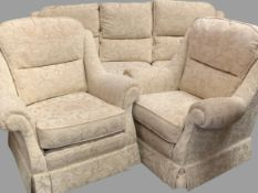 THREE PIECE LOUNGE SUITE in beige floral upholstery, 96cms H, 215cms W, 93cms D (the sofa) and