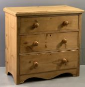 VINTAGE PINE CHEST OF THREE DRAWERS, 82 cms H, 85cms W, 46cms D