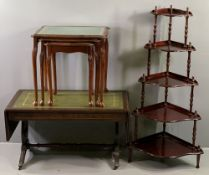 REPRODUCTION SOFA TABLE with tooled leather effect top and lyre ends, 50cms H, 94cms W, 48cms D (