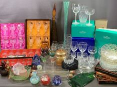 GLASSWARE - boxed Cathedral Crystal wine glasses, boxed Royale County wine glasses, Cristal D'Arques