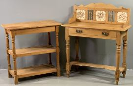 ANTIQUE PINE WASHSTAND with tiled railback, single drawer and base shelf, 105cms H, 89cms W, 40cms D