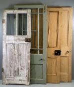 VINTAGE PINE DOORS (2), both four panels, 203cms H, 81cms W, 4cms D and two other similar era doors,