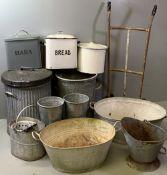 VINTAGE GALVANIZED BATHS (2), galvanized bins, pail, enamel bread bins and an old parcel trolley