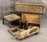 TREEN - vintage doll's chair, lead beater tool, bookshelf ETC