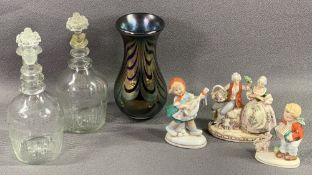 ANTIQUE ETCHED GLASS BOTTLES WITH STOPPERS, 20cms H, a pair, Loetz type vase, 17cms H and
