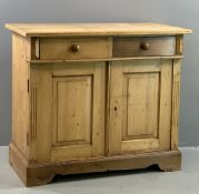 VINTAGE PINE SIDEBOARD BASE with fielded panelled front doors and two drawers above with turned