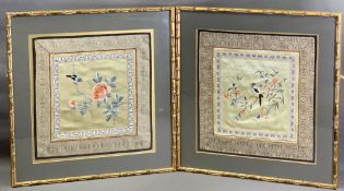 BAMBOO FRAMED TAPESTRIES ON SILK, a pair featuring exotic bird and floral scenes, overall sizes 46 x
