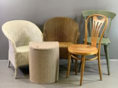 FURNITURE ASSORTMENT - Lusty Lloyd loom chair, other loom items, bentwood chair, painted chair etc
