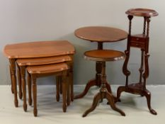 FURNITURE ASSORTMENT to include reproduction nest of three coffee tables, whatnot, circular topped