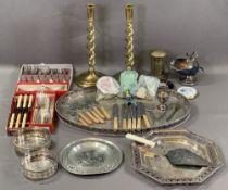 BRASS TWIST STEM CANDLEHOLDERS, a pair, vintage brass moneybox, EPNS cutlery ETC